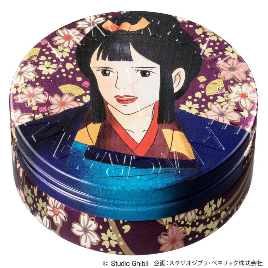 スチームクリームの缶デザイン、ジブリコラボレーションのもののけ姫八重桜と扇子